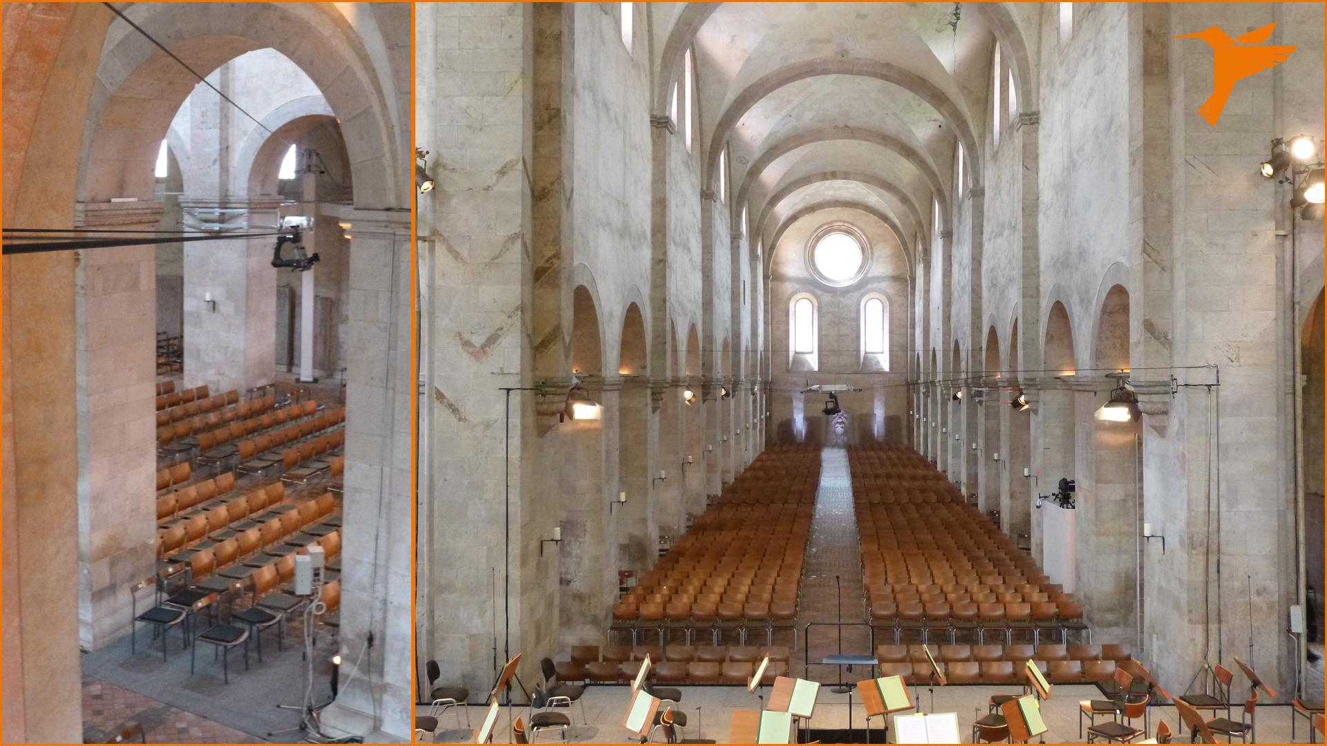 Kloster Eberbach, Rheingau Musik Festival, RMF, Basilika, Etville, hr, Hessischer Rundfunk, Colibri WireCam, cablecam, wirecam, flycam, Seilkamera, Kameraseilbahn,