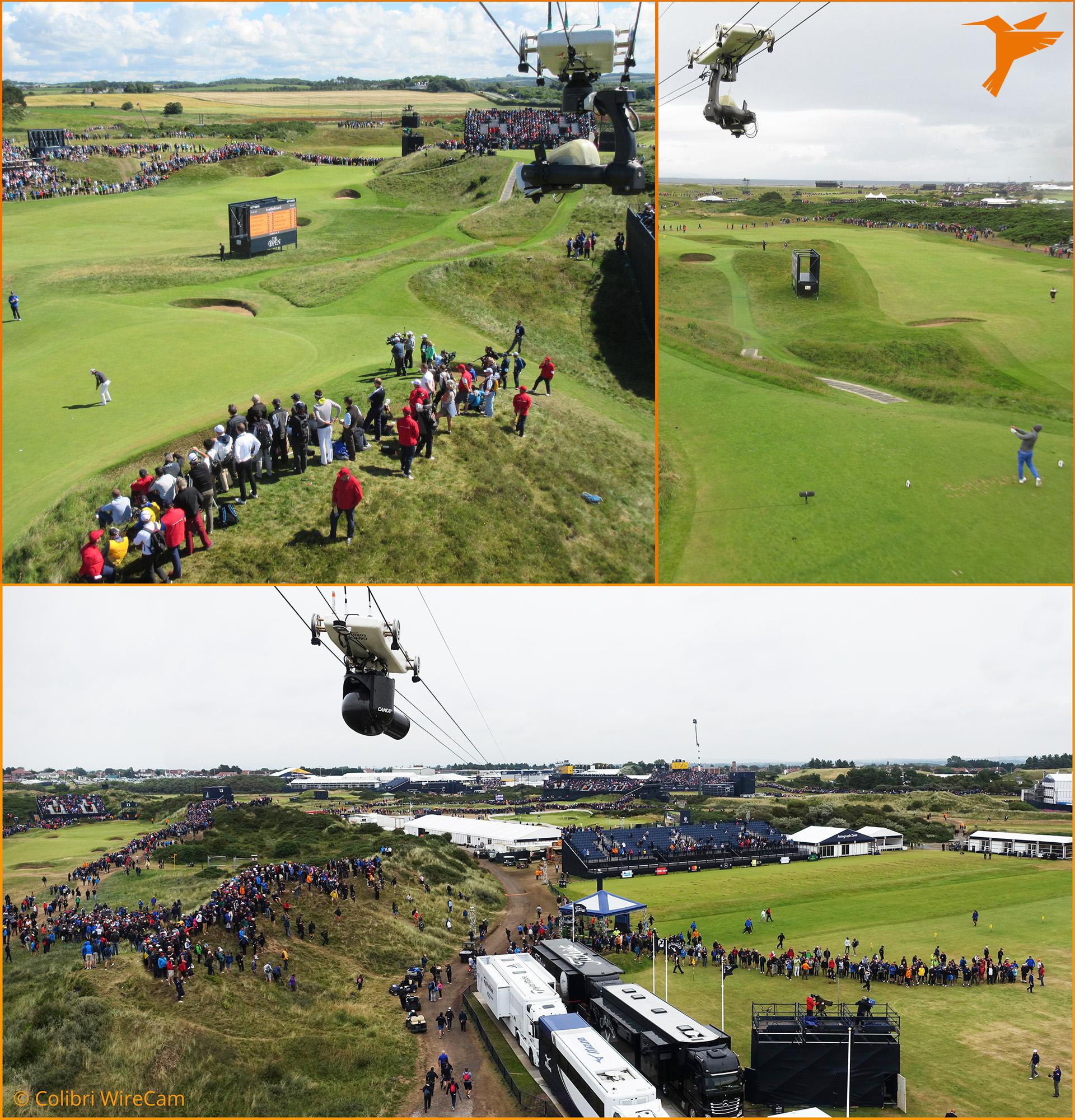 Golf, Golf Open, Troon, Birkdale, Colibri WireCam, cablecam, wirecam, flycam, Seilkamera, Kameraseilbahn